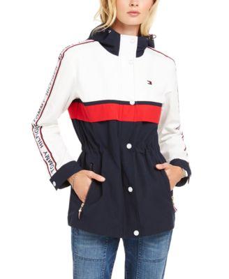Tommy Hilfiger Womens Colorblocked-Trim One Button Blazer Jacket