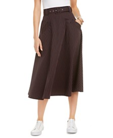 Tommy Hilfiger Cotton Belted Midi Skirt, Created for Macy's
