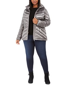 Calvin Klein Plus Size Hooded Packable Puffer Coat, Created for Macy's