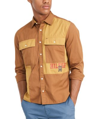 Men's Custom-Fit Dax Military Shirt, Created for Macy's