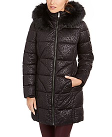 Leopard-Print Faux-Fur Hooded Puffer Coat