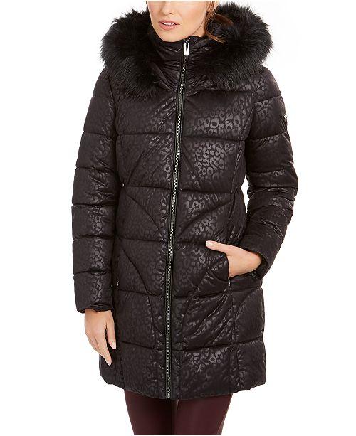 Via Spiga Leopard-Print Faux-Fur Hooded Puffer Coat