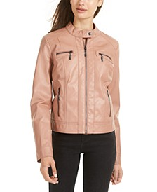 Juniors' Faux-Fur-Lined Moto Jacket