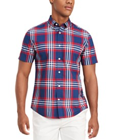 Tommy Hilfiger Men's Custom-Fit Zamora Plaid Short Sleeve Shirt, Created for Macy's