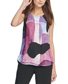 DKNY Petite Abstract-Print Top