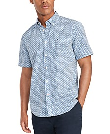Men's Custom-Fit Garret Geometric Print Short Sleeve Shirt, Created for Macy's