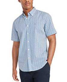 Tommy Hilfiger Men's Custom-Fit Garret Geometric Print Short Sleeve Shirt, Created for Macy's