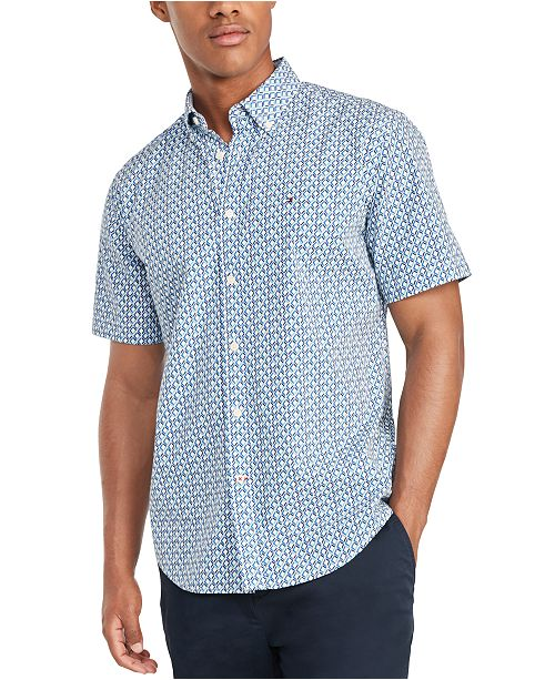 Tommy Hilfiger Men's Custom-Fit Garret Geometric Print Short Sleeve Shirt, Created for Macy's