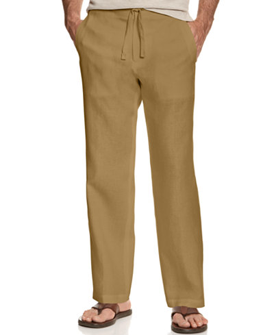 Tasso Elba Men's 100% Linen Drawstring Pants, Only at Macy's ...