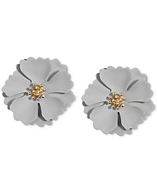 Zenzii Gold-Tone & Suede Painted Finish Camellia Stud Earrings