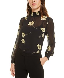 Bar III Smocked Chiffon Blouse, Created for Macy's