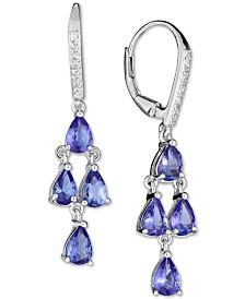 Tanzanite (4 ct. t.w.) & White Sapphire (1/10 ct. t.w.) Drop Earrings in Sterling Silver