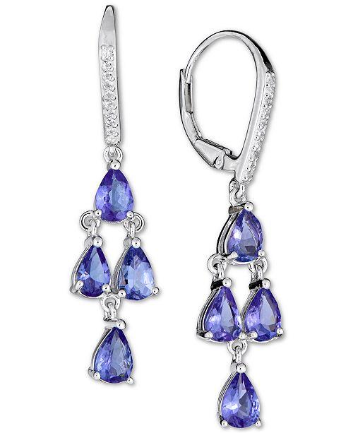 Macy's Tanzanite (4 ct. t.w.) & White Sapphire (1/10 ct. t.w.) Drop Earrings in Sterling Silver