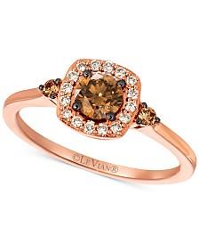 Le Vian® Chocolate Diamond® and Nude Diamond™ (5/8 ct. t.w.) Halo Ring