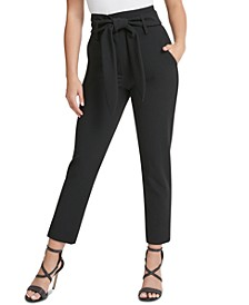High-Waisted Tie-Belt Ankle Pants