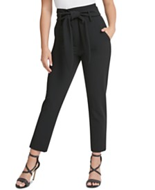 DKNY High-Waisted Tie-Belt Ankle Pants