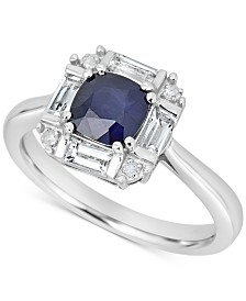 Sapphire (1/2 ct. t.w.) & White Topaz (1/4 ct. t.w.) Ring in 10k White Gold