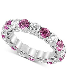 EFFY® Sapphire(2-9/10 ct. t.w) & Diamond (2-1/5 ct. t.w.) Eternity Band in 14k White Gold(Also Available In Certified Ruby, Emerald, and Pink Sapphire)