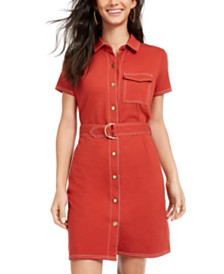 Ultra Flirt Juniors' Contrast-Stitch Dress