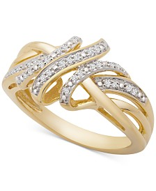 Diamond Overlap Ring (1/10 ct. t.w.) in 14k Gold-Plated Sterling Silver