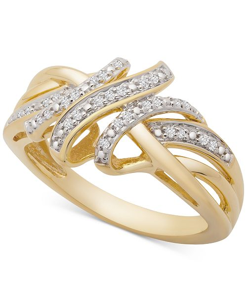 Macy's Diamond Overlap Ring (1/10 ct. t.w.) in 14k Gold-Plated Sterling Silver