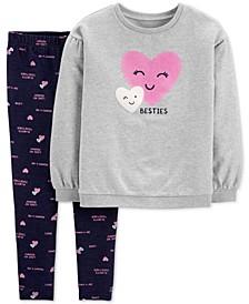 Little & Big Girls 2-Pc. Besties Top & Printed Denim Leggings Set
