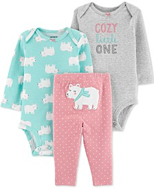 Baby Girls 3-Pc. Cotton Bodysuits & Polar Bear Pants Set