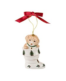 CLOSEOUT! Christmas Tree Puppy in Boot Ornament