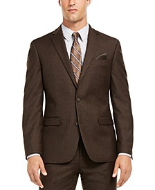 Men's Slim-Fit Brown Textured Suit Separate Jacket, Created for Macy's