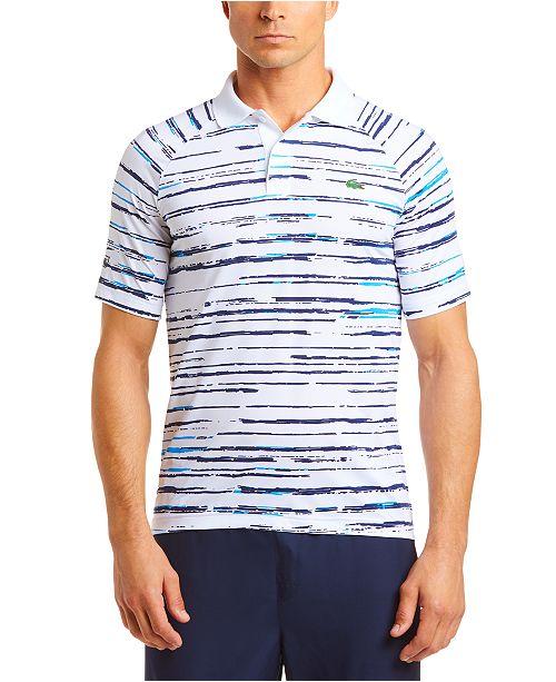 Lacoste Men S Performance Stretch Novak Djokovic Stripe Polo Shirt Reviews Polos Men Macy S