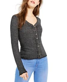 Almost Famous Juniors' V-Neck Button-Front Shirt