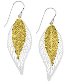 Two-Tone Double Leaf Drop Earrings