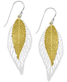Essentials Two-Tone Double Leaf Drop Earrings
