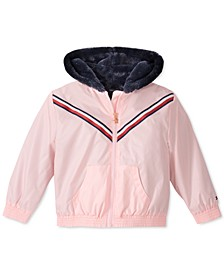 Little Girls Hooded Metallic Jacket With Faux-Fur Trim