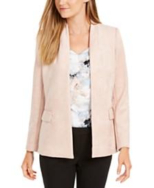 Calvin Klein Petite Faux-Suede Open-Front Jacket