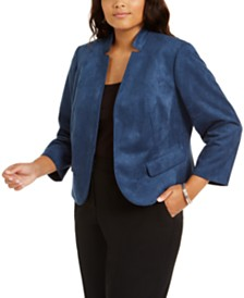 Nine West Plus Size Faux-Suede Kiss-Front Blazer