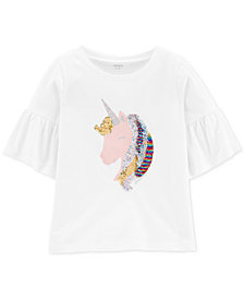 Carter's Little & Big Girls Glitter-Flip-Sequin Unicorn-Print Cotton T-Shirt