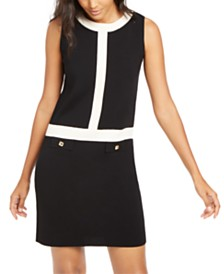 Anne Klein Ottoman-Stitch Colorblocked Dress