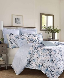 Laura Ashley Chloe Cottage Blue Comforter Set, Full/Queen