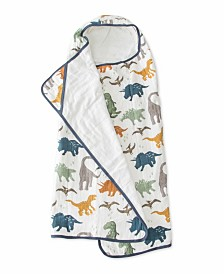 Little Unicorn Dino Friends Cotton Muslin Big Kid Hooded Towel