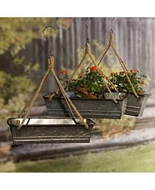 VIP Home & Garden 3-Piece Galvanized Metal Hanging Planters