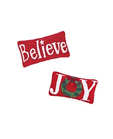 Set of 2 Hooked Pillows Joy and Believe