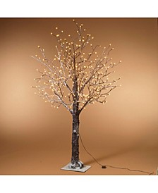 Everlasting Glow 6-Foot, Electric,Brown Wrapped, Snowy Tree with LED Lighting, 8 functions