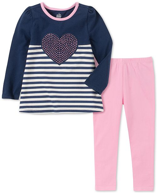 Kids Headquarters Baby Girls 2-Pc. Striped Heart Top & Leggings Set