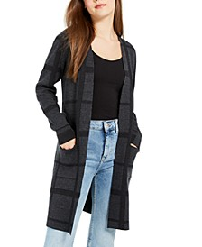 Juniors' Plaid Duster Cardigan
