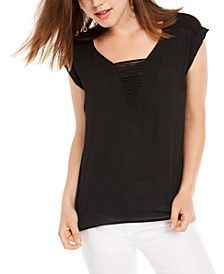 Juniors' Cap-Sleeved Woven-Front Blouse