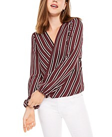 Juniors' Striped Wrap Top