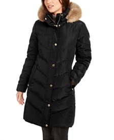 Michael Michael Kors Chevron Faux-Fur Trim Hooded Down Puffer Coat