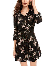 Juniors' Printed Roll-Sleeve Shirtdress, Created for Macy's