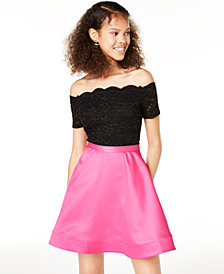 City Studios Juniors' Off-The-Shoulder Fit & Flare Dress, Created for Macy's